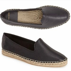 Cole Haan Palermo Black Leather Straw Espadrille